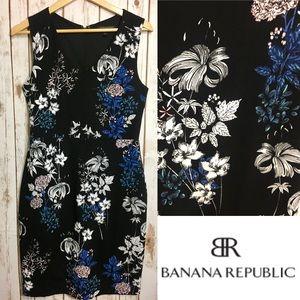 BANANA REPUBLIC Black & floral sheath
